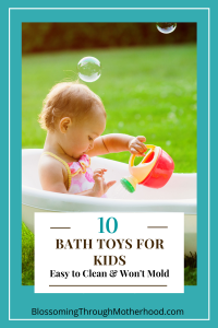 Child playing with toys in the bathtub