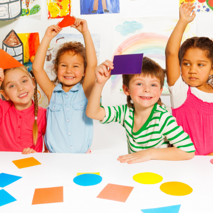 Children practicing their shapes