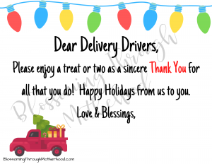 Delivery Driver Thank You Printable
