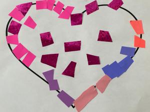 Valentine mosaic heart craft idea